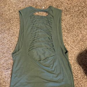 Tops - Olive Scorpio Sol destroyed muscle tank